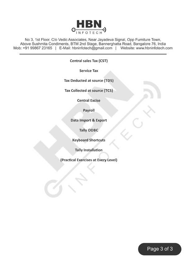 Tally ERP 9 Course Content