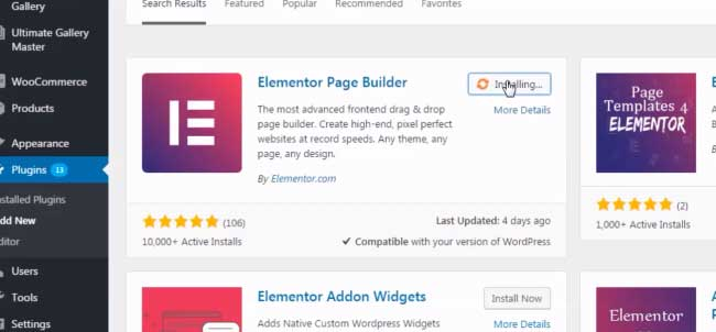 elementor full width page template