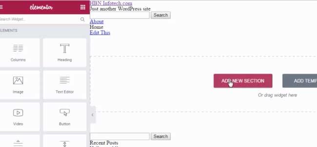 elementor full width section