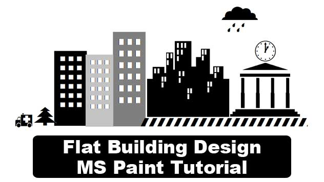 flat building design in ms paint