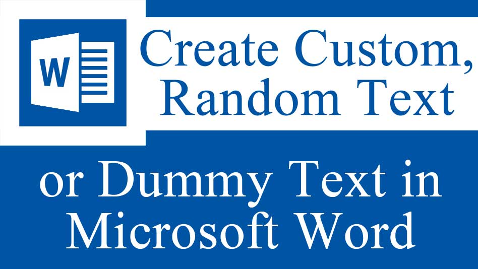 Create custom random text in MS Word