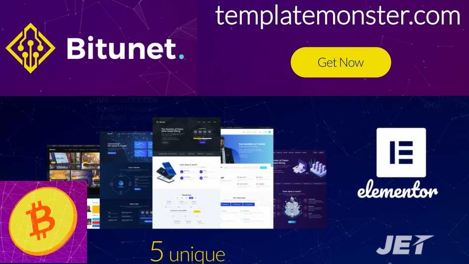 Cryptocurrency Wordpress Theme - Bitunet Cryptocurrency Website - Cryptocurrency Elementor WordPress Theme