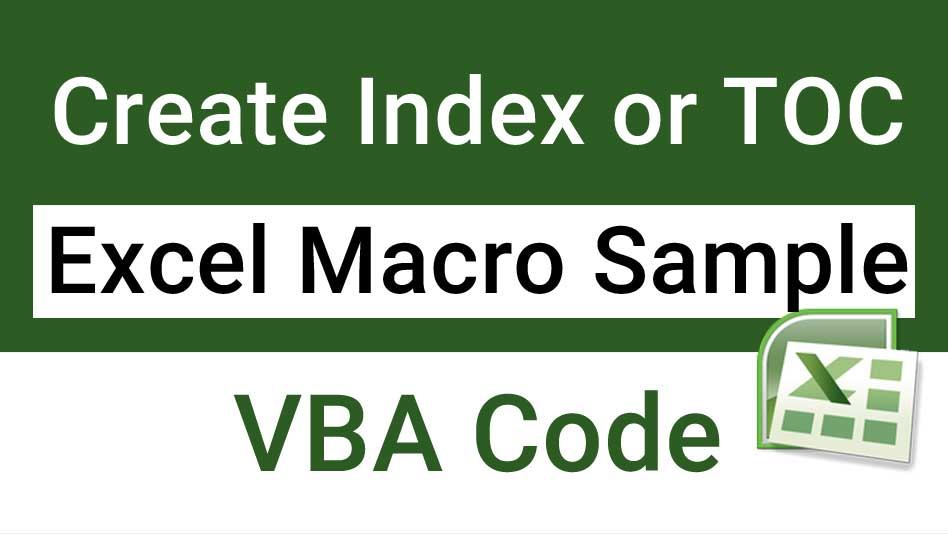 Create Index in Excel