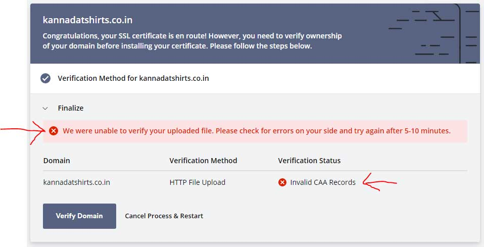 invalid CAA record error sslforfree