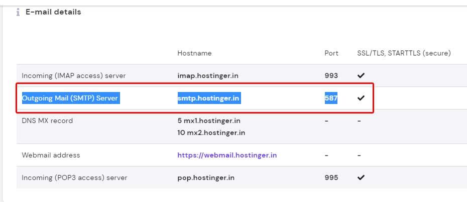 How to find SMTP information in Hostinger Hpanel