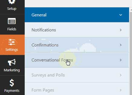 convert contat form into conversational form in wpforms settings