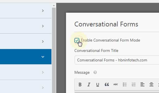 settings to enable conversational form in wpforms