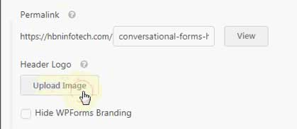 upload logo for conversational form in wpforms