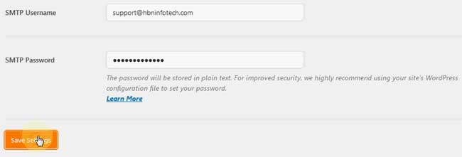 Best WordPress SMTP plugin - wp smtp username and password settings