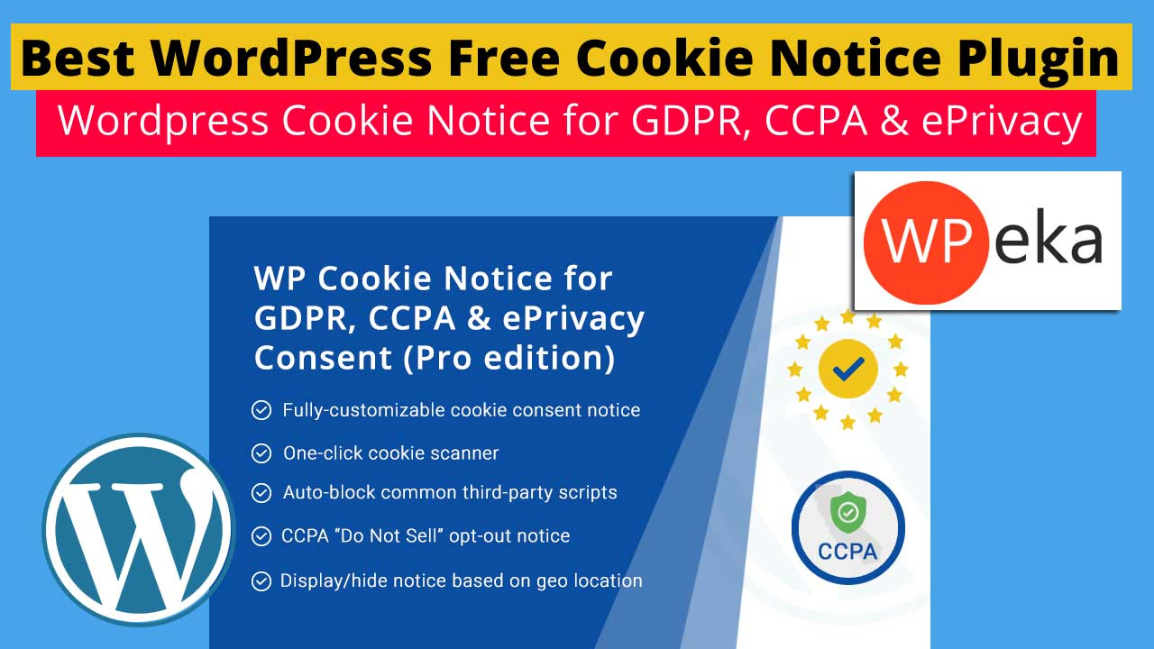 Best WordPress Free Cookie Notice Plugin - Wordpress Cookie Notice for GDPR, CCPA & ePrivacy